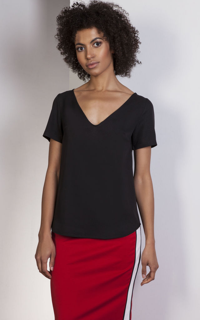 Black v-neck blouse by Lanti