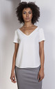 Wide V-neck blouse in white by Lanti