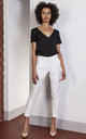 High waisted tailored trousers in white by Lanti