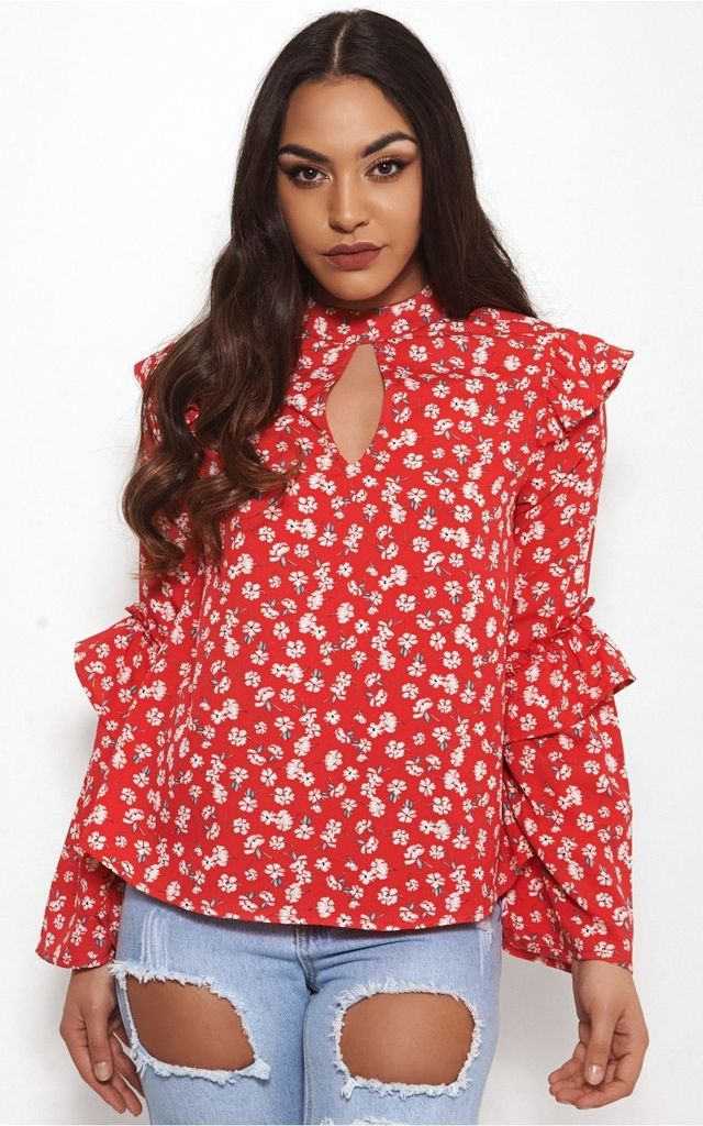 Nola Red Floral Blouse by The Fashion Bible