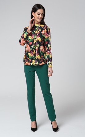 Navy blue floral top with collar by MOSALI