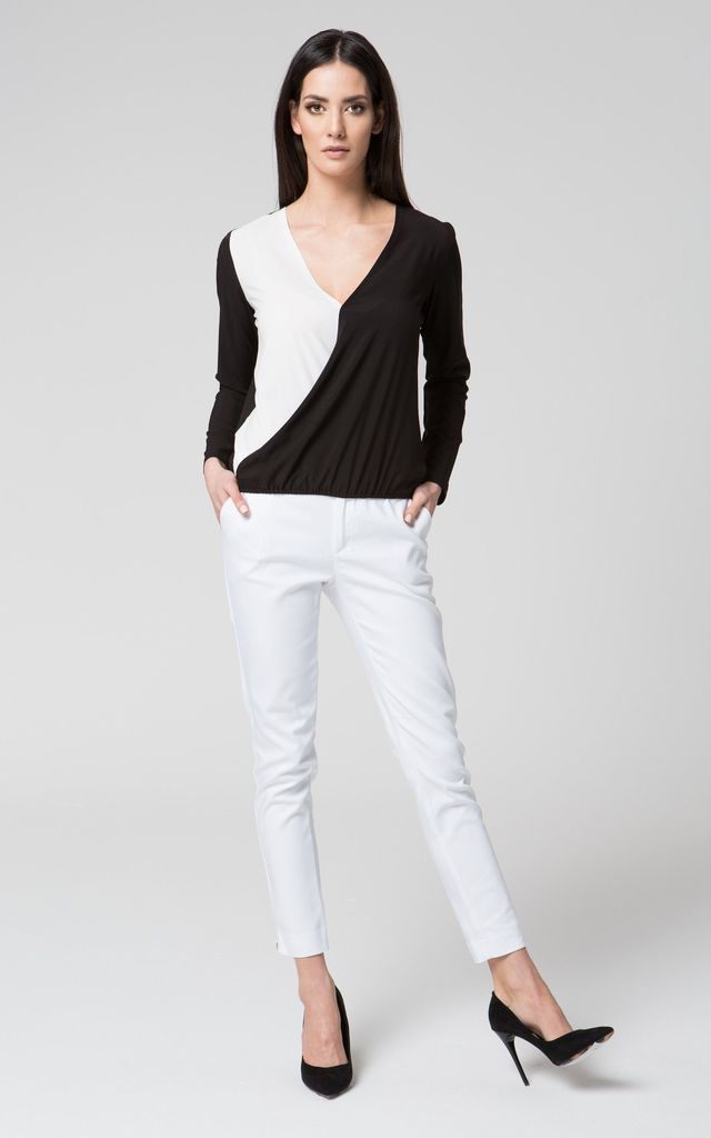 Black and white v neck wrap top by MOSALI