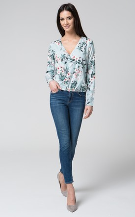 Blue floral v neck wrap top by MOSALI