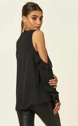 Black Frill detail cold shoulder top by Bella and Blue