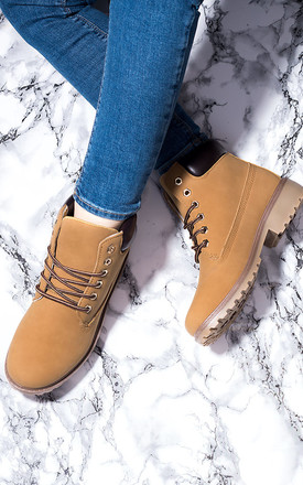 Morgan Lace Up Cleated Sole Flat Combat Walking Ankle Boots Shoes   Tan Leather Style by SpyLoveBuy Product photo