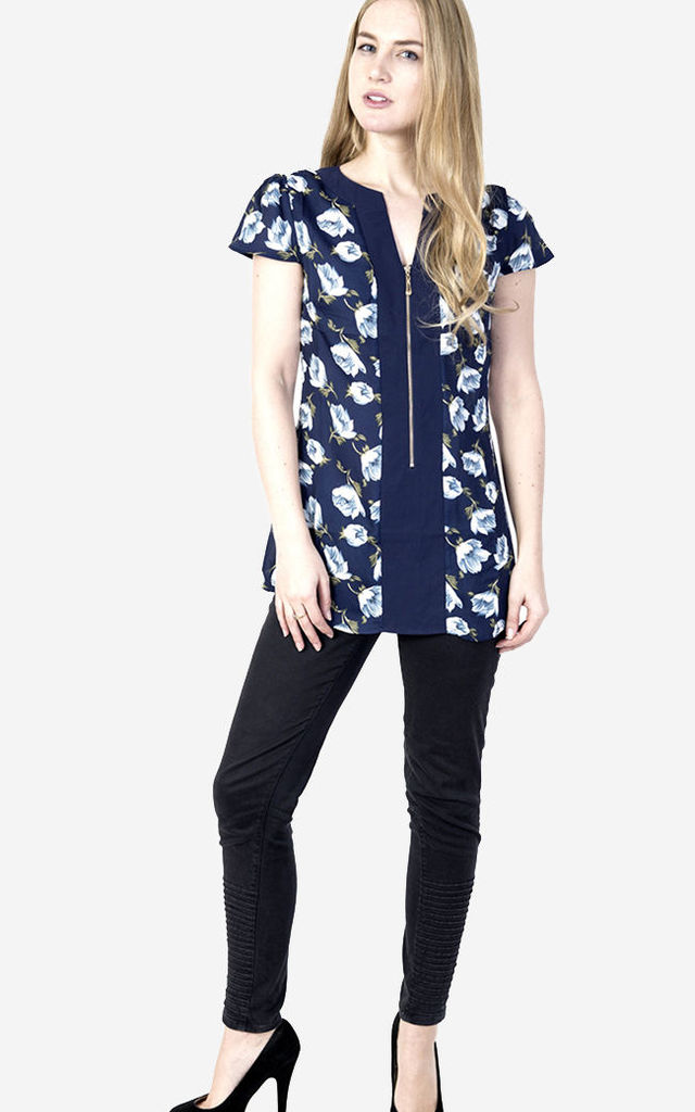 Floral Print Short Sleeve Top by Pussycat London