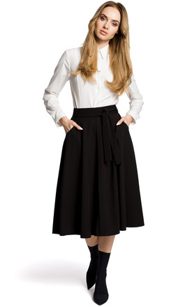 Flared Midi Skirt with Tie Belt in Black by MOE