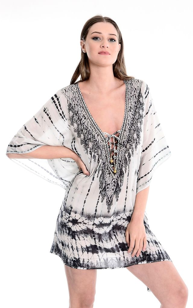 Corsica Black and White lace up printed Kaftan by Kitten Beachwear