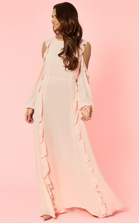 Blush Frill High Neck Dress by Glamorous Product photo