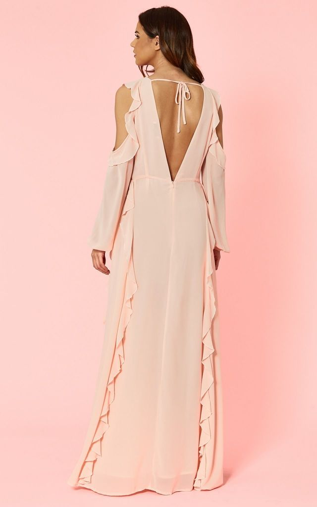 Blush Frill High Neck Dress by Glamorous