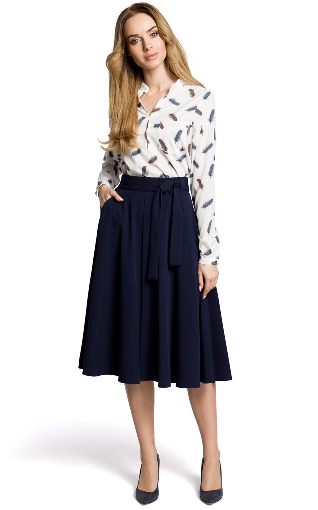 Flared Midi Skirt with Tie Belt in Navy Blue by MOE