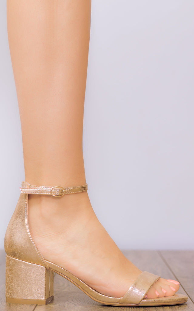 DESERVING Block Heel Barely There Sandals Shoes - Gold Cracked Leather Style by SpyLoveBuy