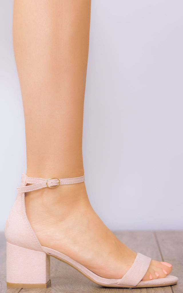 DESERVING Block Heel Barely There Sandals Shoes - Nude Suede Style by SpyLoveBuy