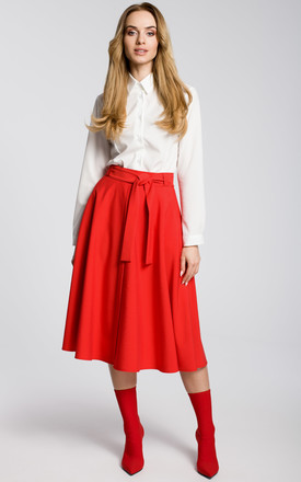 Flared Midi Skirt with Tie Belt in Red by MOE
