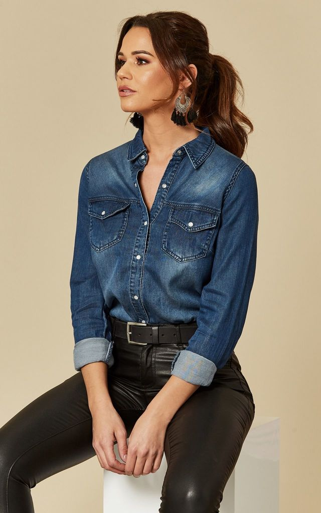 Dark Blue Denim Shirt by VILA