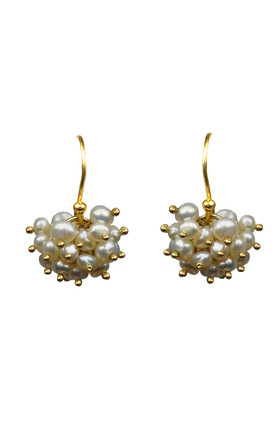 Pearl Cluster Vermeil Earrings by Gena Myint