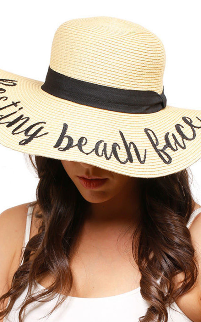 Resting Beach Face Floppy Straw Sun Hat by Arcus Accessories