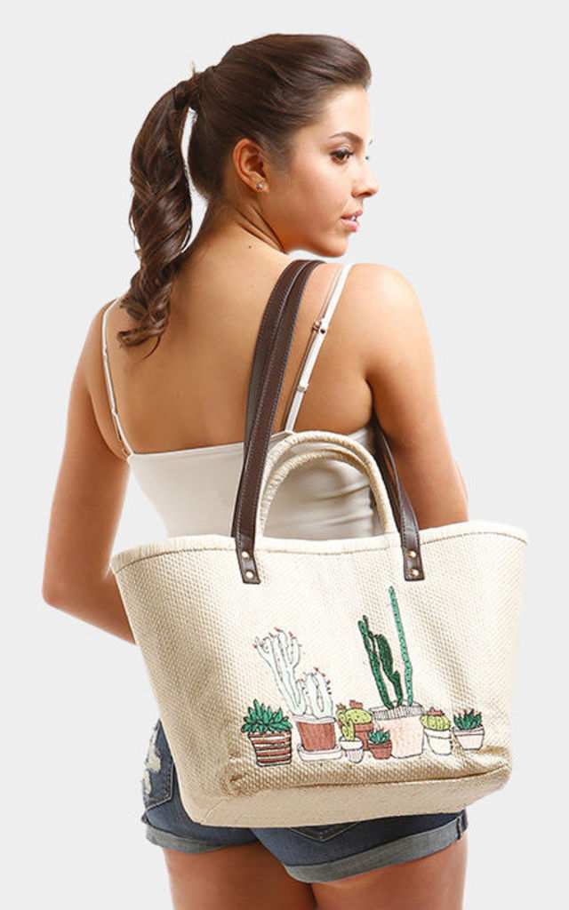 CACTUS BASKET DOUBLE HANDLES TOTE BEIGE BAG by Arcus Accessories