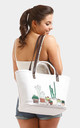 CACTUS BASKET DOUBLE HANDLES TOTE WHITEBAG by Arcus Accessories