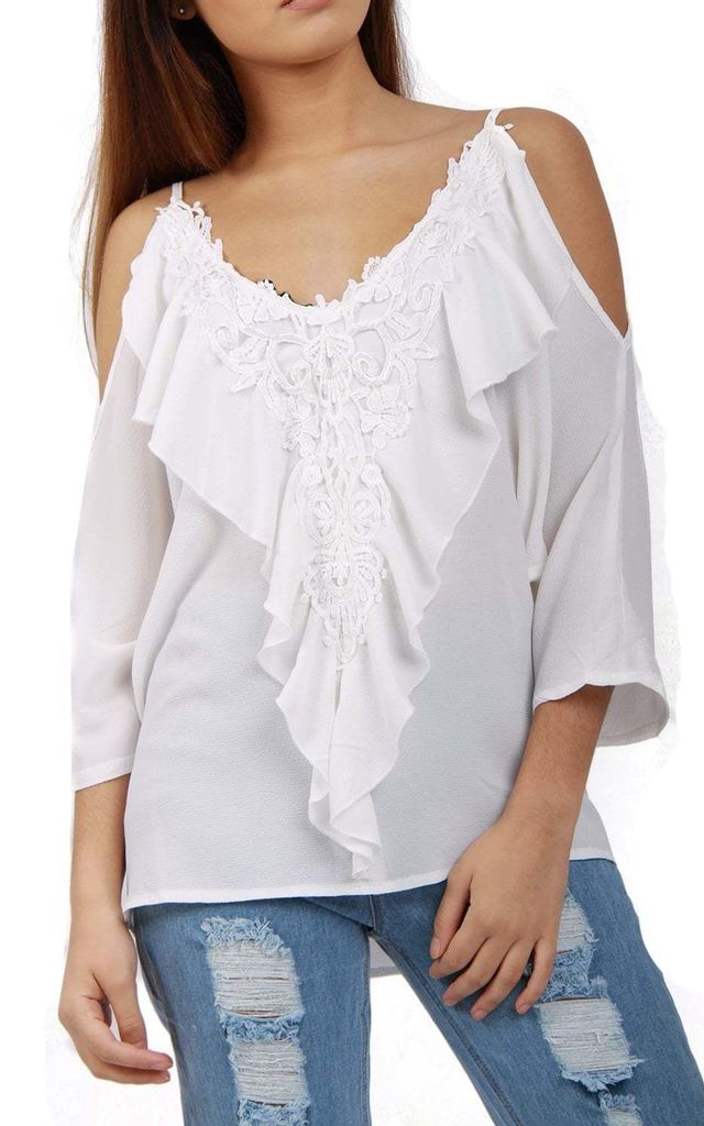 White V Neck Embellished Ruffles Front Cami Top With Cold Shoulder Detail by Urban Mist