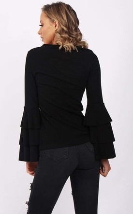 Black Soft Jersey Stretch Cotton Ruffle Bell Sleeve Top by Urban Mist