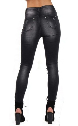 Black High Waist Skinny Jeans with Sequin Leopard Print by Urban Mist