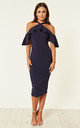 Holly Halterneck Frill Cold Shoulder Midi Dress Navy by Girl In Mind