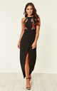 Lottie Floral Applique Maxi Dress Black by Girl In Mind