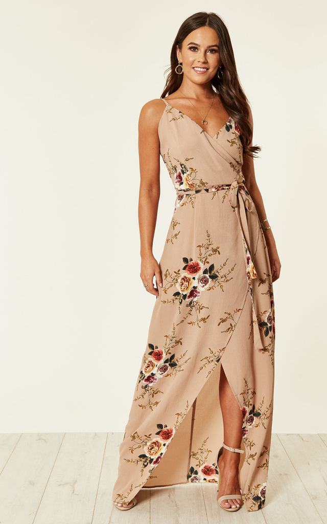 Mia Floral Wrap Maxi Beige by Girl In Mind