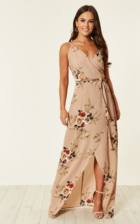 Mia Floral Wrap Maxi Beige by Girl In Mind Product photo