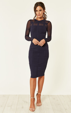 Lily Grid Long Sleeve Bodycon Dress Navy by Girl In Mind Product photo