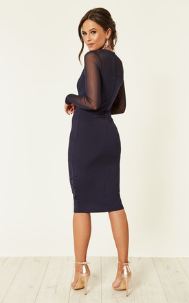 Lily Grid Long Sleeve Bodycon Dress Navy by Girl In Mind