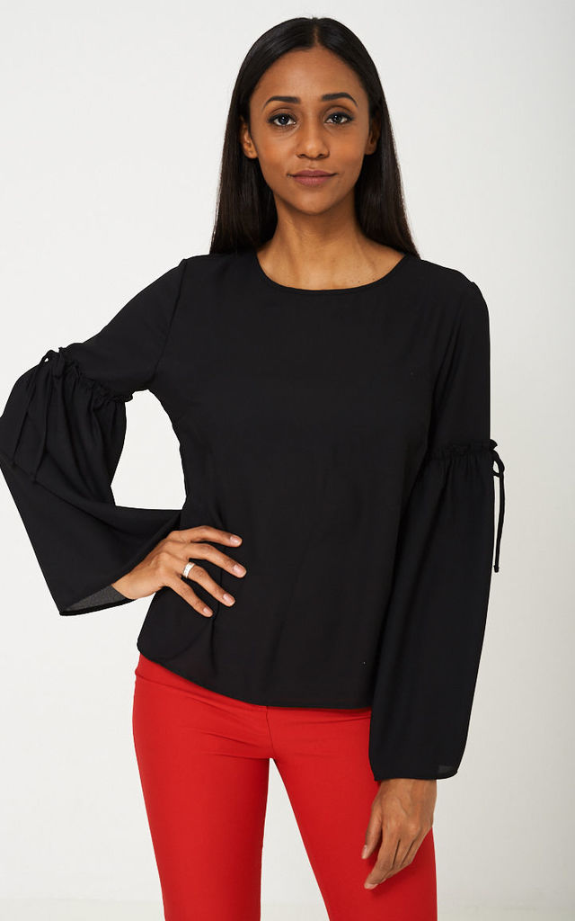 ... Black Bell Sleeve Top by Cool Coco ... 7409123da