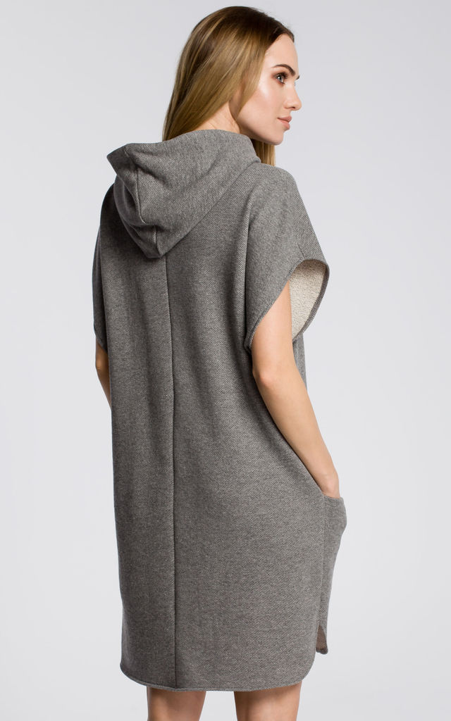 Oversized Hooded Dress with Pockets in Grey by MOE