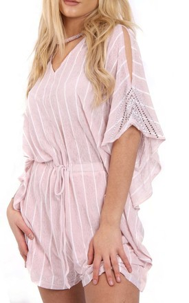 Baby Pink Pin stripe Oversized Cut Out Playsuit With Diamante Arm Detail by Urban Mist