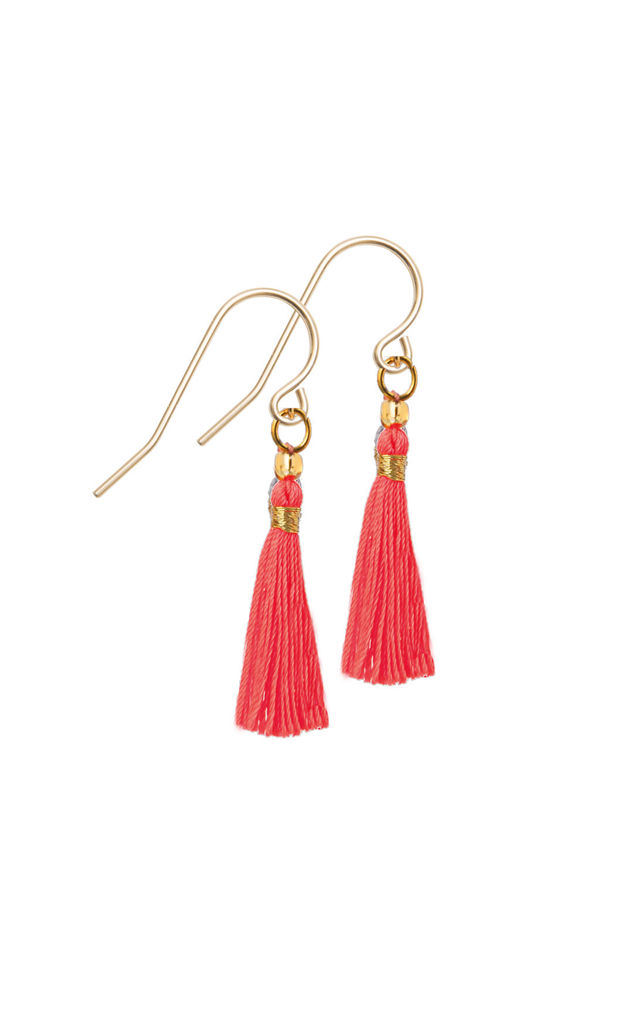 Mila Earrings - Gold Neon Orange by Amadoria