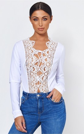 White Crochet Lace Up Bodysuit by The Fashion Bible