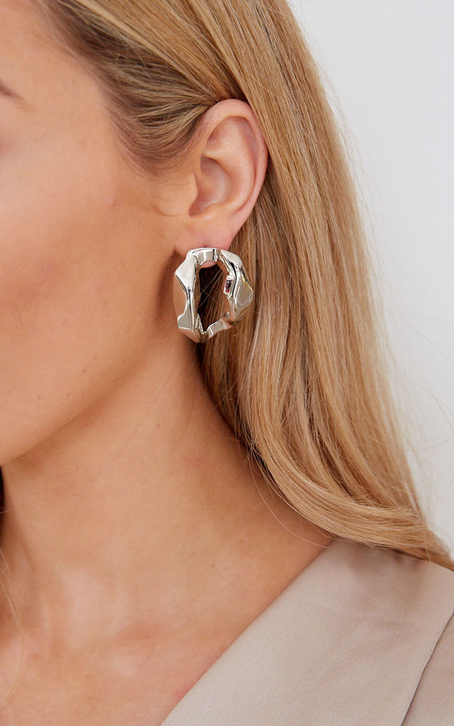 Small Cresent Pleated Hoop Earrings - Silver by Pretty Lavish