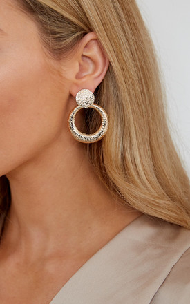 Contrasting Stud And Hoop Earrings - Gold by Pretty Lavish