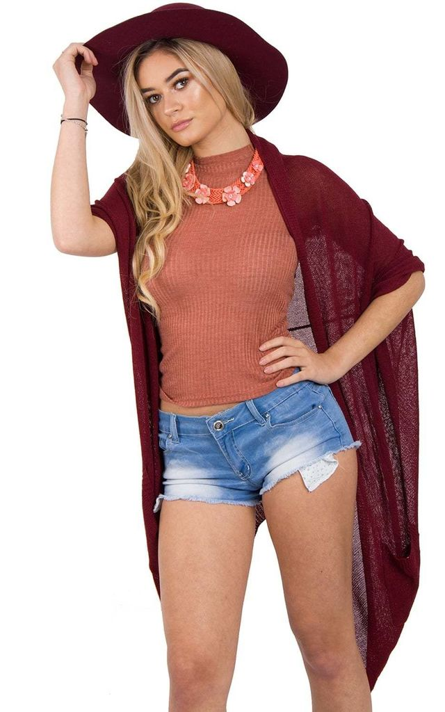 Lightweight Batwing Open Cardigan in Burgundy Red by Urban Mist