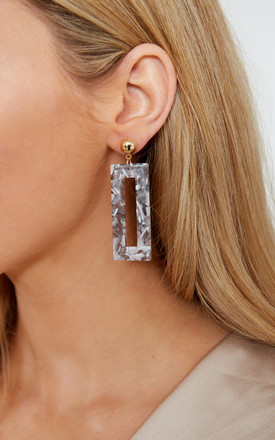 Stud And Drop Square Hoop Earrings by Pretty Lavish