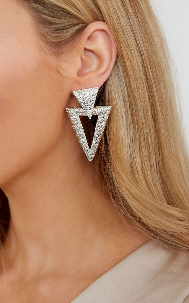 Textured Triangle Drop Earrings - Silver by Pretty Lavish