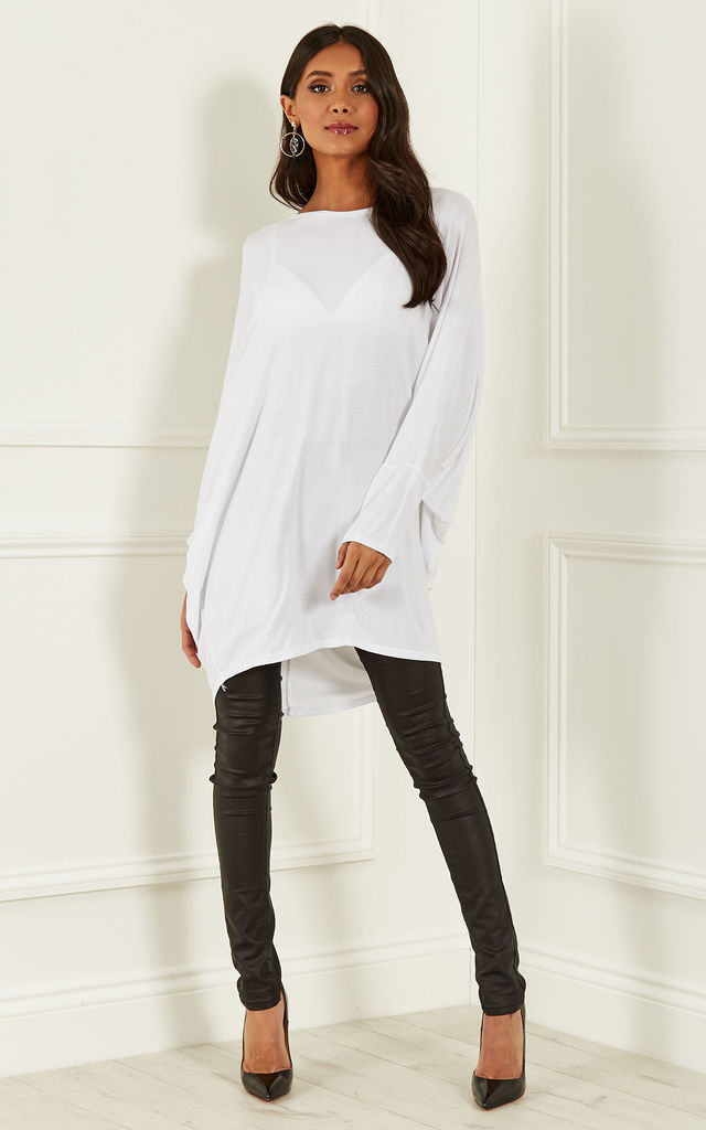 White oversized open neck top by Bella and Blue