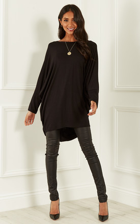 149a6bb5ee37b Black Oversized Open Neck Top