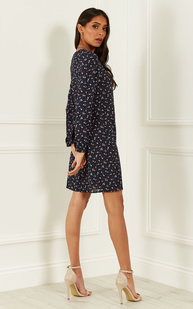 Navy Floral Long Sleeve Skater Dress by Bella and Blue