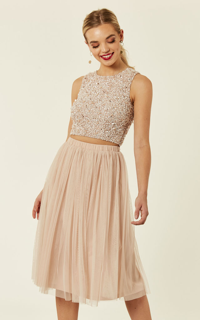 e0966849bc3294 Picasso Embellished Crop Top Bridesmaids Wedding Co-ords (Nude) by Lace    Beads