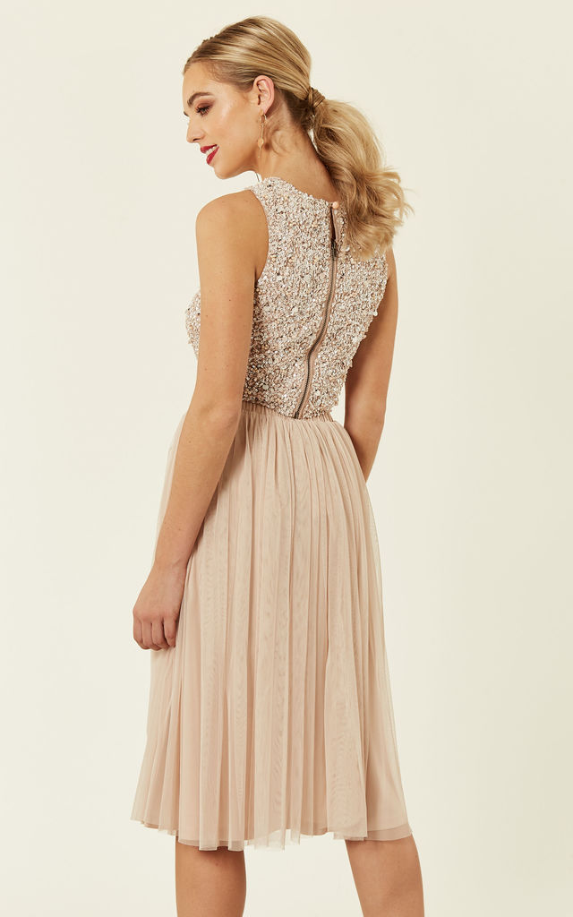 266cfe2b2c7 Picasso Embellished Crop Top Bridesmaids Wedding Co-ords (Nude) by Lace &  Beads