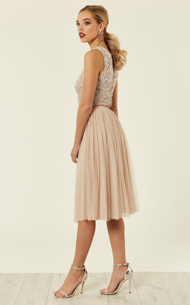 Merlin Tulle Skirt Co-ords(Nude) by Lace & Beads