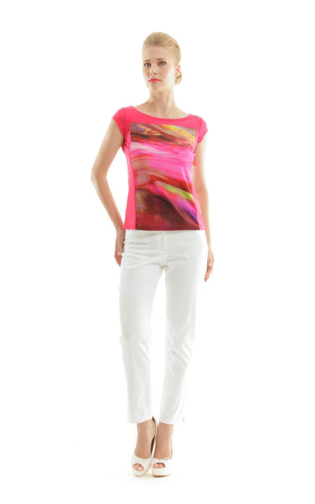 Print and Solid Colour Top by Conquista Fashion