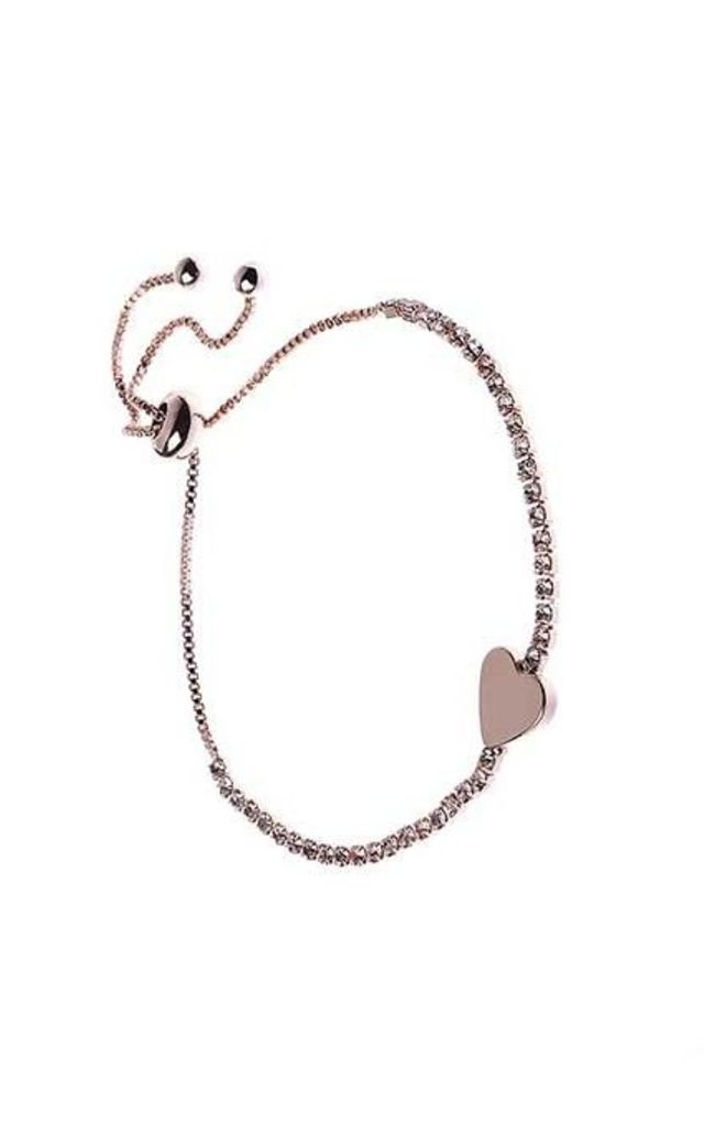 Rose Gold Crystal Heart Bracelet by Nautical and Nice Ltd